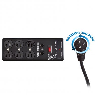 Surge Protector, Flat Rotating Plug, 6 Outlet, Black, Metal, Commercial Grade, 1 X3 MOV, EMI & RFI,