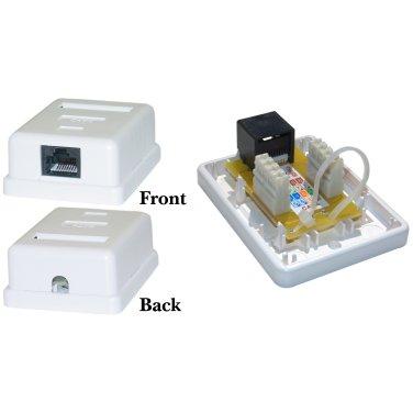 Cat6 Single Jack Surface Mount Box, Female, Unshielded, White