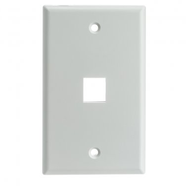 Keystone Wall Plate, White, 1 Hole, Single Gang