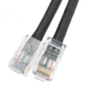Cat6 Black Ethernet Patch Cable, Bootless, 1 foot