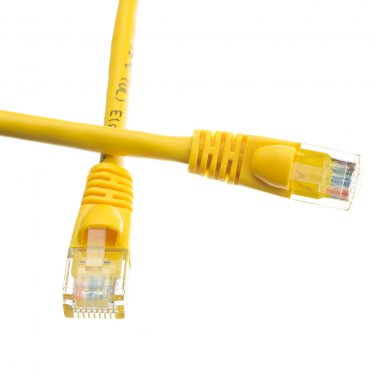 Cat6 Yellow Ethernet Patch Cable, Snagless/Molded Boot, 1 foot