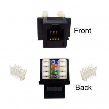 Keystone Insert, Black, Phone/Data Jack, RJ11 / RJ12 Female to 110 Type Punch Down