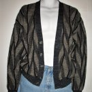 Artsy 70s Italian Wool Cardigan Abstract Herringbone/Chevron Design - Made in Italy
