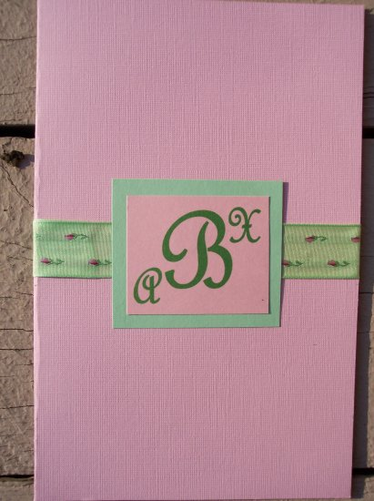 Pink/Chocolate Monogram Wedding Invitation