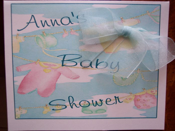 Cute Little Clothesline Baby Shower Invite