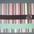 Chocolate/Pink/Mint Stripped Note Card