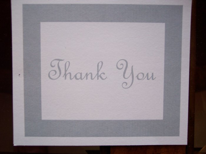 Silver Border Thank You Card