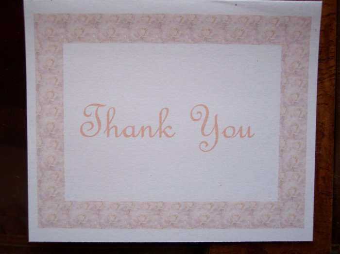 Peach Roses Thank You Card