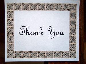 Scroll Block Border Thank You Card