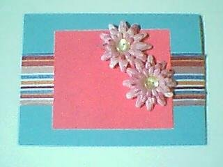 Blue Pink Flowers Note card