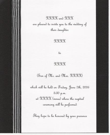 "custom designed ""pinstripe"" wedding invitation set"