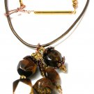 Fierce Couture Cluster Tiger's Eye Dangle Necklace