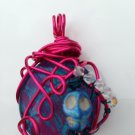 Skull Orbit- Wire Wrapped Glass Cabochon with Skull Gemstone Pendant