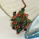 Amazon Butterfly - Ermerald & Multi Gemstone Wirewrapped Copper Pendant Necklace