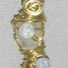 "Moon Sister"" Wire-wrapped Rainbow Moonstone & Oplaite Gemstone Pendant Necklace"
