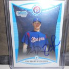 ZACHARY PHILLIPS 2008 BOWMAN CHROME PROSPECTS IN-PERSON AUTO RC RANGERS / ORIOLES / MARLINS