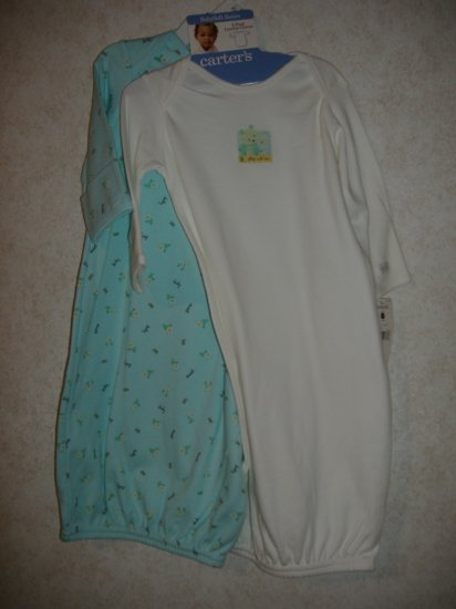 2-Pack Girls Layette Carter's Gowns  Size 0-3 Months