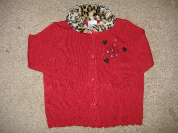 Girl's Leopard Trim Sweater    Size 6x