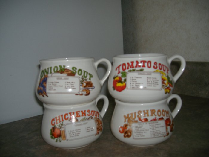4 Pc Soup Bowls Cups W/Recipes