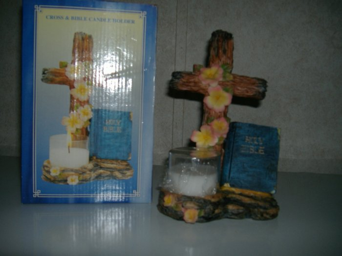 New Cross & Bible Candle Holder