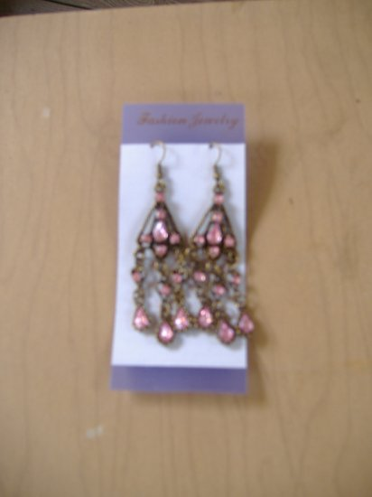 Antique Copper Finish Pink Rhinestone Earrings