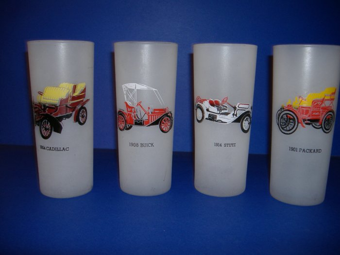 Glassware Set 4 Antique Auto Glasses