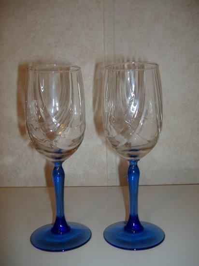 2 Cobalt Blue Wine Goblet Glassware