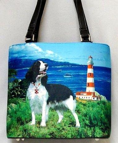 Springer Spaniel Lighthouse Guard Bucket Handbag