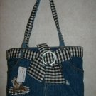 Fashion Denim Handbag w / Striped Tie Belt
