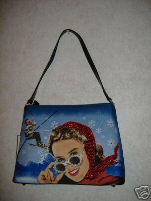 Ladies Snow Skieing Handbag w / Rhinestones