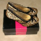 "ELLIE 406-DOLL Women's 4"" Heel Satin Leopard Pump With Velvet Bow Lace Trim"