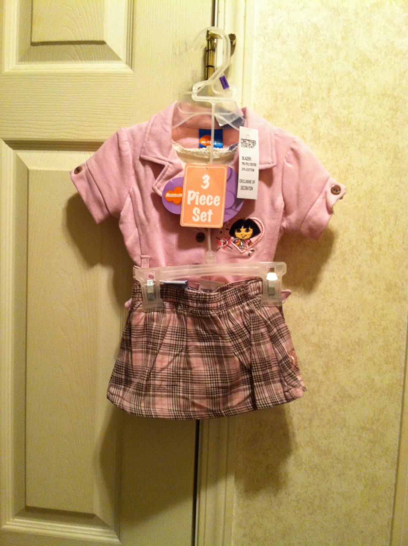 Dora The Explorer 3 Piece Skort Set  ( NEW) Size 12-18-24 Months