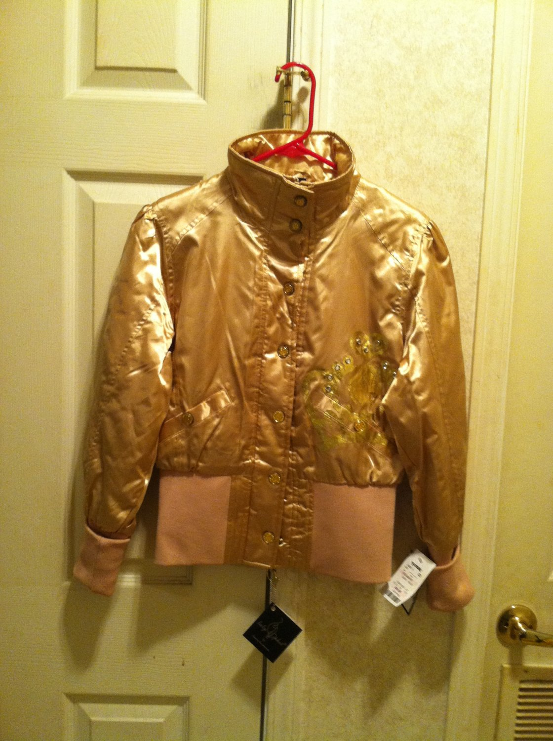 Gold Rhinestone Crown Baby Phat Jacket  Size M