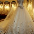 Strapless Sweethart Wedding Dress Princess Crystal Rhinestones Bridal Wedding Gown H131123