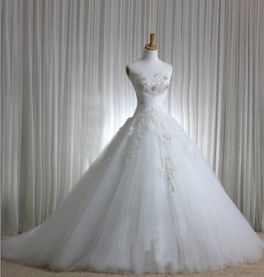 Strapless Sweethart Wedding Dress Princess Crystalstones Bridal Wedding Gown H131145