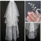 Stock Bridal Wedding Veils Fingertip 2 T Beading Tulle Wedding Veil V1