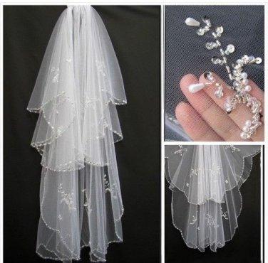 Stock Bridal Wedding Veils Fingertip 2 T Beading Tulle Wedding Veil V1