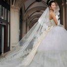 Bridal Wedding Veils Cathedral Cut Tulle Lace Edge Red white ivory champange Wedding Veil V2