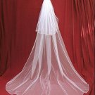 Bridal Wedding Veils Cathedral Cut Tulle Satin Edge Red white ivory champange Wedding Veil V3