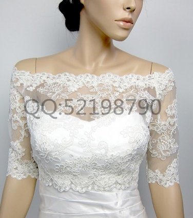 Bridal Vest 3/4 Sleeve Alencon Lace white ivory Off Shoulder Wedding Bolero Jacket RJ17