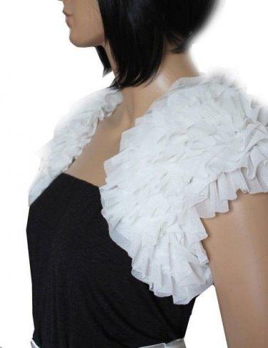 Bridal Vest Short Sleeves Chiffon Tiered white ivory Muti Colors Wedding Bolero Jacket RJ13
