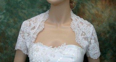 Bridal Vest Short Sleeves Alencon Lace Net white ivory Wedding Bolero Jacket RJ12