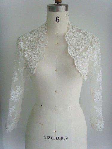 Bridal Vest Full Long Sleeves Lace Appliques Beading White Colors Stock Wedding Bolero Jacket RJ9