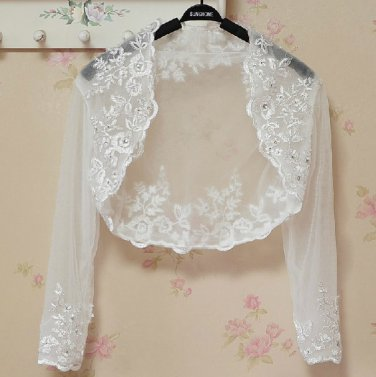 Bridal Vest 3/4 Sleeves Silver Lace Apliques white ivory Beads Stock Wedding Bolero Jacket RJ4
