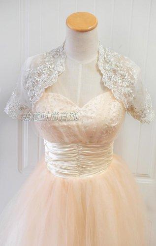 Bridal Vest Short Sleeves Silver Lace Apliques white ivory Beads Stock Wedding Bolero Jacket RJ2