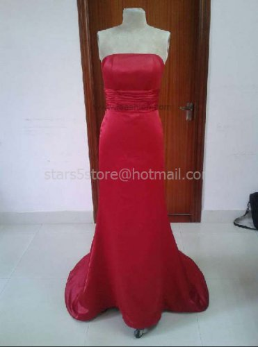 Red Satin Long Bridesmaid Dress Mermaid Wedding Evening Party Dress MB17