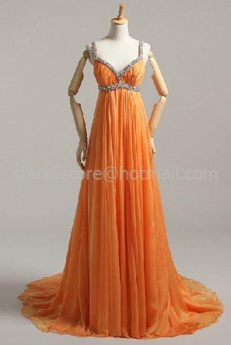Red Orange Long Evening Dress A-line Chiffon Halter Empire Waist Wedding Party Prom Dress EP04