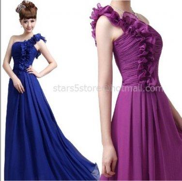 Stock Long Bridesmaid Dress A-line Chiffon One Shoulder Evening Dress MB18