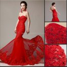 Strapless Wedding Dress Red White Ivory Bridal Mermaid Lace Wedding Gown C1319