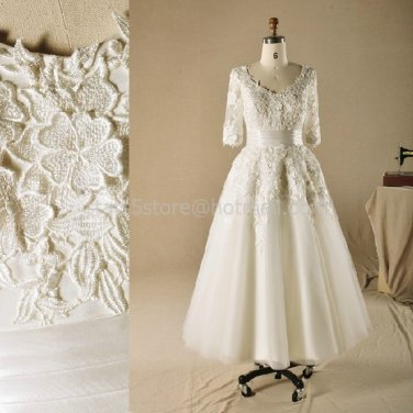 3/4 Sleeves Short Wedding Dress A-line Ankle Length Bridal Wedding Gown H13103